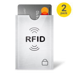 Protect your identity and data with this two pack of compact sleeves from Olixar. Featuring RFID blocking technology, the sleeves protect your personal ID's, credit and debit cards from unauthorised wireless data theft.