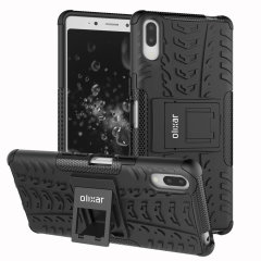 Protect your Sony Xperia L3 from bumps and scrapes with this black ArmourDillo case from Olixar. Comprised of an inner TPU case and an outer impact-resistant exoskeleton, with a built-in viewing stand.