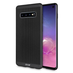 A supremely precision engineered lightweight slimline case in black with a perforated mesh pattern that looks great, adds grip and aids heat dissipation from your Galaxy S10, as well as enhance the high performance beauty of the device.