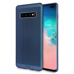 A supremely precision engineered lightweight slimline case in blue with a perforated mesh pattern that looks great, adds grip and aids heat dissipation from your Galaxy S10 Plus, as well as enhance the high performance beauty of the device.