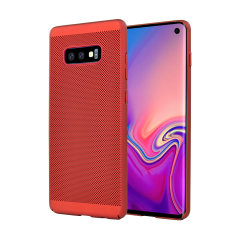 A supremely precision engineered lightweight slimline case in red with a perforated mesh pattern that looks great, adds grip and aids heat dissipation from your Galaxy S10 Lite, as well as enhance the high performance beauty of the device.