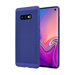 A supremely precision engineered lightweight slimline case in blue with a perforated mesh pattern that looks great, adds grip and aids heat dissipation from your Galaxy S10 Lite, as well as enhance the high performance beauty of the device.