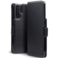 All the benefits of a wallet case but far more streamlined. The Olixar Carbon Fibre Textured Low Profile in black is the perfect partner for the the Huawei P30 pro owner on the move. What's more, this case transforms into a handy stand to view media.