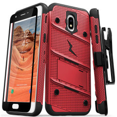 Equip your Samsung Galaxy J7 2018 with military grade protection and superb functionality with the ultra-rugged Bolt case in red / black from Zizo. Coming complete with a handy belt clip and integrated kickstand.