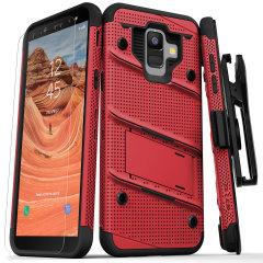 Statten Sie Ihr Samsung Galaxy A6 mit militärischem Schutz und hervorragender Funktionalität aus mit dem ultra-robusten Bolt Case in Rot / Schwarz von Zizo. Wird komplett mit einem praktischen Gürtelclip und integriertem Kickstand geliefert.