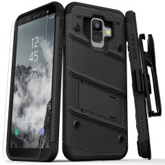 Equip your Samsung Galaxy A6 with military grade protection and superb functionality with the ultra-rugged Bolt case in black from Zizo. Coming complete with a handy belt clip and integrated kickstand.