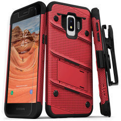 Equip your Samsung Galaxy J2 with military grade protection and superb functionality with the ultra-rugged Bolt case in red / black from Zizo. Coming complete with a handy belt clip and integrated kickstand.