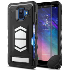 Equip your Samsung Galaxy A6 with heavy duty protection and functionality with the Electro case in black from Zizo. Coming complete with an integrated kickstand and card slot. Additionally the case comes with a car vent holder and glass screen protector.