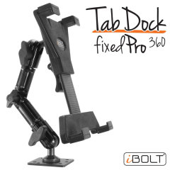 The iBolt TabDock FixedPro 360 is a heavy duty multi-angle drill base pedestal mounting solution for all tables from 7 to 10 inches. Designed to be installed directly to any flat surface and rotates 360 degrees for optimal viewing positions