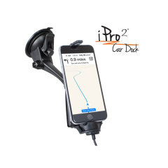 iPro2 è una soluzione di montaggio per auto per iPhone che può essere montata sul cruscotto o sul parabrezza. Questo dock per auto omologato MFI è dotato di un connettore per l'illuminazione integrato. Inoltre, la vista aperta della telecamera consente la funzionalità della camma del cruscotto.