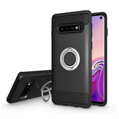 Made for the Samsung Galaxy S10, this tough black and silver ArmaRing case from Olixar provides extreme protection and a finger loop to keep your phone in your hand, whether from accidental drops or attempted theft. Also doubles as a stand