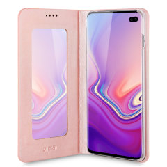 Protect your Samsung Galaxy S10 Plus with this durable and stylish rose gold leather-style mirror case by Olixar. What's more, this case transforms into a handy stand to view media.