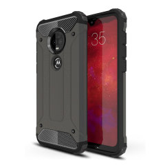 Protect your Motorola Moto G7 from bumps and scrapes with this gunmetal Delta Armour case from Olixar. Comprised of an inner TPU section and an outer impact-resistant exoskeleton.