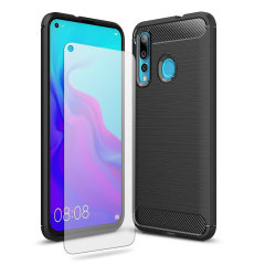 Flexible rugged casing with a premium matte finish non-slip carbon fibre and brushed metal design, the Olixar Sentinel case in black keeps your Huawei Nova 4 protected from 360 degrees with the added bonus of a tempered glass screen protector.