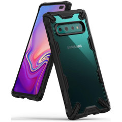 Keep your Samsung Galaxy S10 Plus protected from bumps and drops with the Rearth Ringke Fusion X tough case in Black. Featuring a 2-part,  design, this case lives up to military drop-test standards so you can rest assured that your device is safe.
