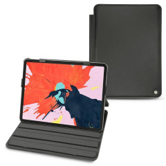 Protect your iPad Pro 12.9 2018 with this fantastic black genuine leather-style stand case from Noreve. The frame folds out to become a media viewing stand, perfect for streaming videos or gaming.