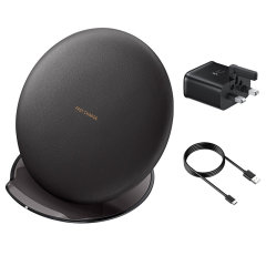 Wirelessly charge your Galaxy S10, S9, S8 and other compatible devices with Wireless Fast Charge technology using this official Samsung Qi Wireless Convertible Charging Pad in couch black, with travel adapter.