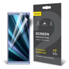 Keep your Sony Xperia 10 screen in pristine condition with this Olixar scratch-resistant screen protector 2-in-1 pack.