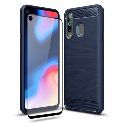 Flexible rugged casing with a premium matte finish non-slip carbon fibre and brushed metal design, the Olixar Sentinel case in blue keeps your Samsung Galaxy A8s protected from 360 degrees with the added bonus of a tempered glass screen protector.