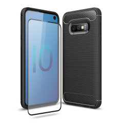 Flexible rugged casing with a premium matte finish non-slip carbon fibre and brushed metal design, the Olixar Sentinel case in black keeps your Samsung Galaxy S10e protected from 360 degrees with the added bonus of a tempered glass screen protector.