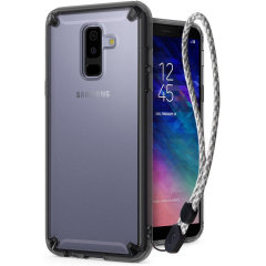 Protect your shiny new Samsung Galaxy A6 Plus 2018 with this Rearth Ringke Fusion case in Smoke Black. The clear design will perfectly highlight the stunning contours of the A6 Plus 2018, whilst keeping it protected from bumps and scratches at all time.