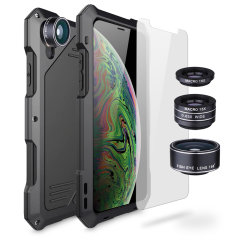 Take your iPhone XS Max photography to the next level with the Titan Clip Armour case from Olixar. Comprised of a 198 degree fisheye, super wide-angle macro and 15x macro lenses in an impact resistant metal case with a glass screen protector.