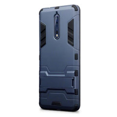 Protect your Nokia 8 from bumps and scrapes with this blue dual layer armour case from Olixar. Comprised of an inner TPU section and an outer impact-resistant exoskeleton, with a built-in viewing stand.