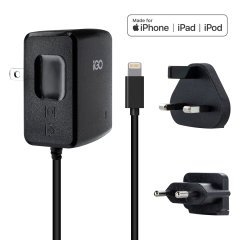 Charge your Apple device quickly and conveniently with this compatible 2.4A travel charger featuring a mains adapter with Lightning connection cable. Comes with US, EU, and UK wall blades, allowing the charger to be universal.