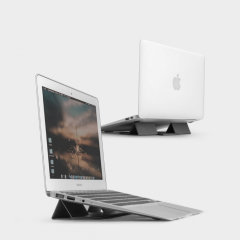 The worry-free laptop stand from Rearth Ringke in Grey. Lightweight and portable can be used as a laptop stand or as a mouse pad. Compatible with many laptops, tablets, and keyboards on the market.