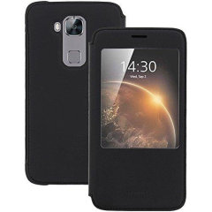 Official Huawei sleep and wake function case for Huawei G8 in black.  It attaches on to the phone with ease and maintains your phone's sleek look. Any incoming calls and messages will be visible through a window.
