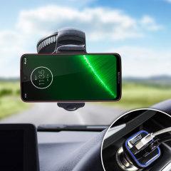 Houd je telefoon veilig in je auto met deze volledig verstelbare DriveTime-autohouder voor je Motorola Moto G7.