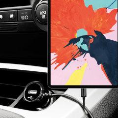 Mit diesem leistungsstarken 2,4A-Autoladegerät mit ausziehbarem Spiralkabel können Sie Ihr Apple iPad Pro 12.9 2018 auch unterwegs voll aufladen. Als zusätzlichen Bonus können Sie ein zusätzliches USB-Gerät über den integrierten USB-Anschluss aufladen!