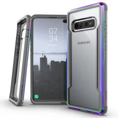 The X-Doria Defense Shield with iridescent frame and clear back is an incredibly stylish and protective case for your Samsung Galaxy S10. Tested to survive 10ft drops onto concrete the Defense Shield provides excellent protection.