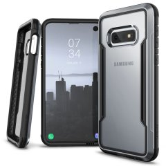 The X-Doria Defense Shield in a black frame and clear back is an incredibly stylish and protective case for your Samsung Galaxy S10e. Tested to survive 10 ft drop onto concrete the Defense Shield provides excellent protection.