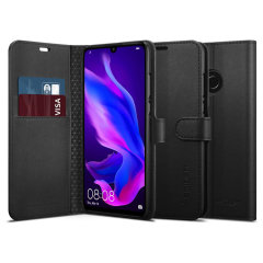 The slim Spigen Huawei P30 Lite Wallet S Case in black comes complete with a card slot, stand feature and is made with a luxurious faux leather material for a polished and professional look.