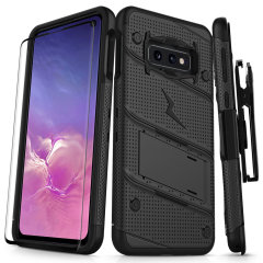 Equip your Samsung Galaxy S10e with military grade protection and superb functionality with the ultra-rugged Bolt case in black from Zizo. Coming complete with a handy belt clip and integrated kickstand.