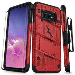 Equip your Samsung Galaxy S10e with military grade protection and superb functionality with the ultra-rugged Bolt case in red from Zizo. Coming complete with a handy belt clip and integrated kickstand.