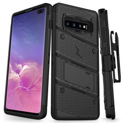 Equip your Samsung Galaxy S10 Plus with military grade protection and superb functionality with the ultra-rugged Bolt case in black from Zizo. Coming complete with a handy belt clip and integrated kickstand.
