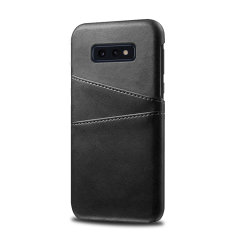 Designed for the Samsung Galaxy S10e, this black executive leather-style case from Olixar provides a perfect fit and durable protection against scratches, knocks and drops with the added convenience of 2 RFID protected credit card-sized slots.