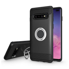 Made for the Samsung Galaxy S10 Plus, this tough black and silver ArmaRing case from Olixar provides extreme protection and a finger loop to keep your phone in your hand, whether from accidental drops or attempted theft. Also doubles as a stand
