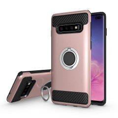 Made for the Samsung Galaxy S10 Plus, this tough rose gold ArmaRing case from Olixar provides extreme protection and a finger loop to keep your phone in your hand, whether from accidental drops or attempted theft. Also doubles as a stand
