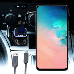 Keep your Samsung Galaxy S10e fully charged on the road with this compatible Olixar high power dual USB 3.1A Car Charger with an included high quality USB to USB-C charging cable.