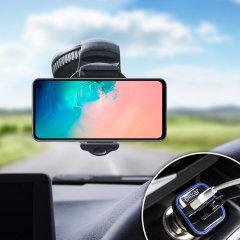 Positionnez et maintenez votre Samsung Galaxy S10 en toute sécurité dans votre véhicule avec le support voiture Olixar DriveTime, entièrement réglable.