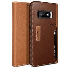 The K3 Wallet Case in brown and burgundy for the Samsung Galaxy S10e comes complete with card slots, a large document pocket and is made with luxurious leather-style materials for a classic, prestige and professional look.