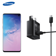 A genuine Samsung UK adaptive fast mains charger for your USB-C Samsung Galaxy S10 phone.  With folding pins for travel convenience and a genuine Samsung USB-C charging cable. Retail packed.