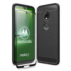 Flexible rugged casing with a premium matte finish non-slip carbon fibre and brushed metal design, the Olixar Sentinel case in black keeps your Moto G7 protected from 360 degrees with the added bonus of a tempered glass screen protector.