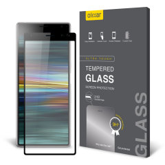 This ultra-thin tempered glass full cover screen protector for the Sony Xperia 10 Plus from Olixar with black front offers toughness, high visibility and sensitivity all in one package.