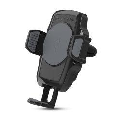Laden Sie Ihr Qi-taugliches Smartphone im Auto drahtlos mit dieser kabellos ladbaren, am Lüftungsgitter befestigten Autohalterung. Positionieren Sie Ihr Gerät sicher im Hoch- oder Querformat und genießen Sie gleichzeitig das bequeme und effiziente drahtlose Qi-Ladegerät Scosche.