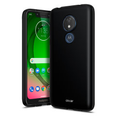 Custom moulded for the Motorola Moto G7 Play this solid black FlexiShield case by Olixar provides slim fitting and durable protection against damage.