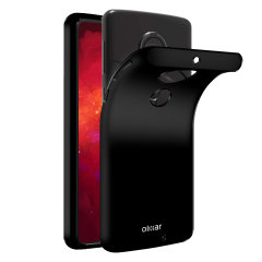 Custom moulded for the Motorola Moto G7 Plus this solid black FlexiShield case by Olixar provides slim fitting and durable protection against damage.